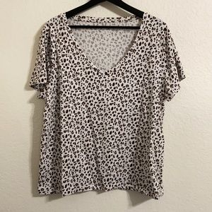 J. Crew Leopard Vintage Cotton V-neck Tee XXL EUC